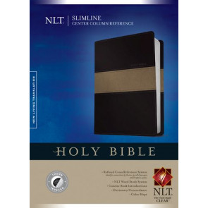Slimline Center Column Reference Bible NLT, TuTone (Red Letter, LeatherLike, Black/Taupe, Indexed) - LeatherLike Black/Multicolor/Taupe With thumb index and ribbon marker(s)