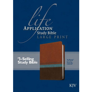 KJV Life Application Study Bible, Second Edition, Large Print (Red Letter, LeatherLike, Blue/Brown/Tan) - LeatherLike Blue/Brown/Multicolor/Tan With ribbon marker(s)