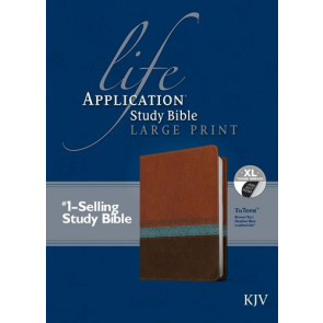 KJV Life Application Study Bible, Second Edition, Large Print (Red Letter, LeatherLike, Blue/Brown/Tan, Indexed) - LeatherLike Blue/Brown/Multicolor/Tan With thumb index and ribbon marker(s)
