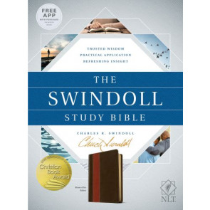 The Swindoll Study Bible NLT, TuTone  - LeatherLike Brown/Multicolor/Tan With ribbon marker(s)