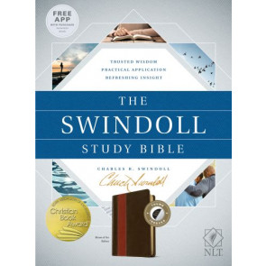 The Swindoll Study Bible NLT, TuTone  - LeatherLike Brown/Multicolor/Tan With thumb index and ribbon marker(s)