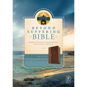 Beyond Suffering Bible NLT, TuTone (LeatherLike, Brown/Tan) - LeatherLike Brown/Multicolor/Tan With ribbon marker(s)