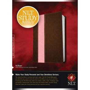 NLT Study Bible, TuTone (Red Letter, LeatherLike, Dark Brown/Pink) - LeatherLike Dark Brown/Multicolor/Pink With ribbon marker(s)