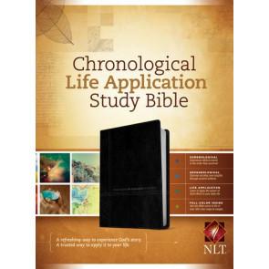 NLT Chronological Life Application Study Bible, TuTone (LeatherLike, Black/Onyx) - LeatherLike Black/Onyx/Multicolor With ribbon marker(s)