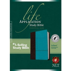 NLT Life Application Study Bible, Second Edition, Personal Size (LeatherLike, Dark Brown/Teal, Indexed) - LeatherLike Dark Brown/Multicolor/Teal With thumb index and ribbon marker(s)