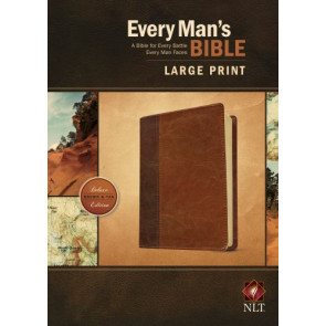Every Man's Bible NLT, Large Print, TuTone (LeatherLike, Brown/Tan) - LeatherLike Brown/Multicolor/Tan With ribbon marker(s)