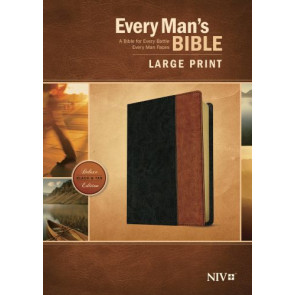 Every Man's Bible NIV, Large Print, TuTone (LeatherLike, Black/Tan) - LeatherLike Black/Multicolor/Tan With ribbon marker(s)