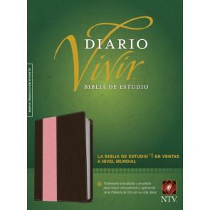 Biblia de estudio del diario vivir NTV (Letra Roja, SentiPiel, Café/Rosa, Índice) - LeatherLike Brown/Multicolor/Pink With thumb index and ribbon marker(s)