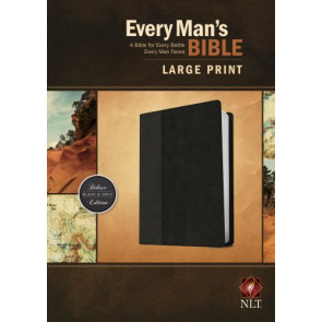 Every Man's Bible NLT, Large Print, TuTone (LeatherLike, Black/Onyx) - LeatherLike Black/Onyx/Multicolor With ribbon marker(s)