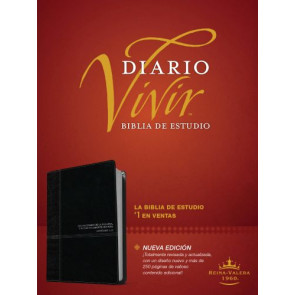 Biblia de estudio del diario vivir RVR60 (Letra Roja, SentiPiel, Negro/Ónice, Índice) - LeatherLike Black/Onyx/Multicolor With thumb index and ribbon marker(s)