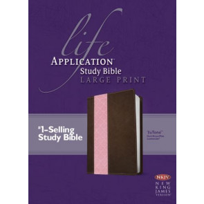 NKJV Life Application Study Bible, Second Edition, Large Print, TuTone (Red Letter, LeatherLike, Dark Brown/Pink) - LeatherLike Dark Brown/Multicolor/Pink With ribbon marker(s)