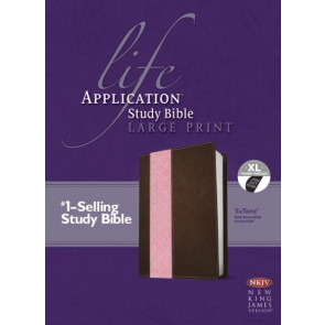 NKJV Life Application Study Bible, Second Edition, Large Print, TuTone (Red Letter, LeatherLike, Dark Brown/Pink, Indexed) - LeatherLike Dark Brown/Multicolor/Pink With thumb index and ribbon marker(s)