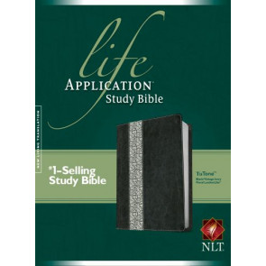 NLT Life Application Study Bible, Second Edition, TuTone (Red Letter, LeatherLike, Black/Vintage Ivory Floral) - LeatherLike Black/Vintage Ivory Floral/Multicolor With ribbon marker(s)