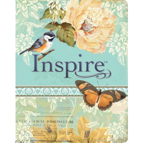 Inspire Bible NLT (LeatherLike, Vintage Blue/Cream) - Silky LeatherLike Vintage Blue/Cream Flexible plastic/vinyl cover With ribbon marker(s)