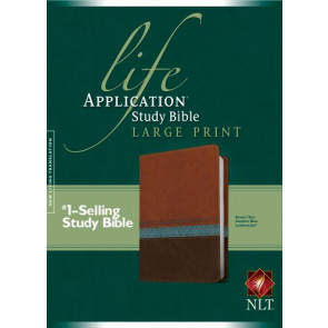 NLT Life Application Study Bible, Second Edition, Large Print (Red Letter, LeatherLike, Heather Blue/Brown/Tan) - LeatherLike Heather Blue/Brown/Multicolor/Tan With ribbon marker(s)