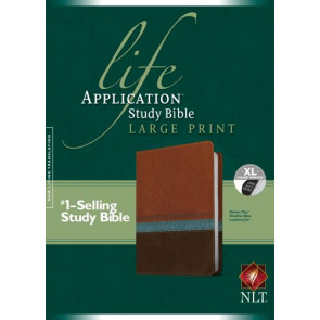 NLT Life Application Study Bible, Second Edition, Large Print (Red Letter, LeatherLike, Heather Blue/Brown/Tan, Indexed) - LeatherLike Heather Blue/Brown/Multicolor/Tan With thumb index and ribbon marker(s)