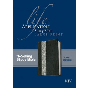 KJV Life Application Study Bible, Second Edition, Large Print (Red Letter, LeatherLike, Black/Vintage Ivory Floral) - LeatherLike Black/Vintage Ivory Floral/Multicolor With ribbon marker(s)