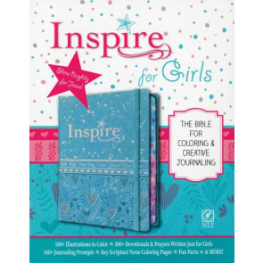 Inspire Bible for Girls NLT (Hardcover LeatherLike, Metallic Blue) - Hardcover With ribbon marker(s) Wide margin