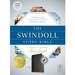 The Swindoll Study Bible NLT  - LeatherLike Black With thumb index and ribbon marker(s)