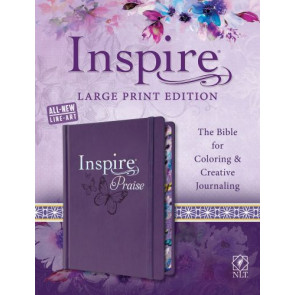 Inspire PRAISE Bible Large Print NLT (Hardcover LeatherLike, Purple) - Hardcover Purple With ribbon marker(s) Wide margin
