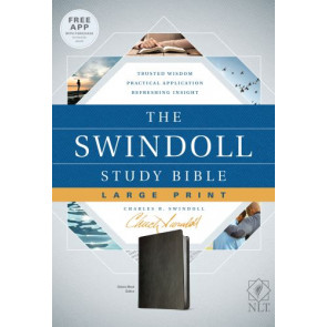 The Swindoll Study Bible NLT, Large Print  - LeatherLike Black With ribbon marker(s)