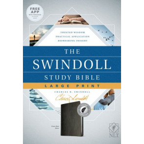 The Swindoll Study Bible NLT, Large Print  - LeatherLike Black With thumb index and ribbon marker(s)