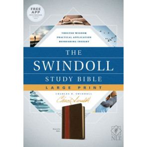 The Swindoll Study Bible NLT, Large Print  - LeatherLike Brown/Multicolor/Tan With ribbon marker(s)