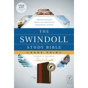 The Swindoll Study Bible NLT, Large Print  - LeatherLike Brown/Multicolor/Tan With thumb index and ribbon marker(s)