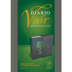Biblia de estudio del diario vivir NTV (Letra Roja, Tapa dura de tela, Gris) - Hardcover Gray With ribbon marker(s)