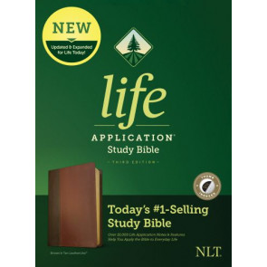 NLT Life Application Study Bible, Third Edition (LeatherLike, Brown/Tan, Indexed) - LeatherLike Brown/Multicolor/Tan With thumb index and ribbon marker(s)