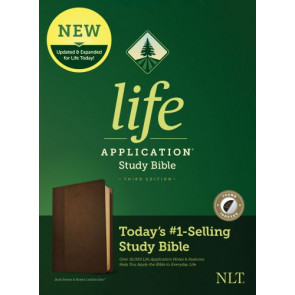 NLT Life Application Study Bible, Third Edition (LeatherLike, Dark Brown/Brown, Indexed) - LeatherLike Brown/Dark Brown/Multicolor With thumb index and ribbon marker(s)