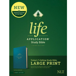 NLT Life Application Study Bible, Third Edition, Large Print (Red Letter, LeatherLike, Teal Blue) - LeatherLike Teal Blue With ribbon marker(s)