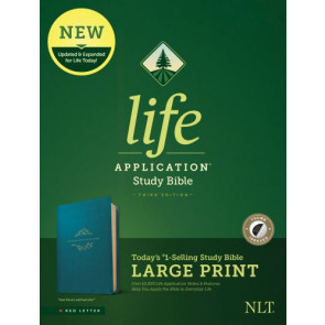 NLT Life Application Study Bible, Third Edition, Large Print (LeatherLike, Teal Blue, Indexed) - LeatherLike Teal Blue With thumb index and ribbon marker(s)