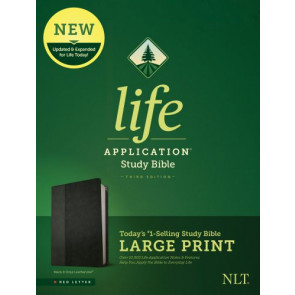 NLT Life Application Study Bible, Third Edition, Large Print (Red Letter, LeatherLike, Black/Onyx) - LeatherLike Black/Onyx With ribbon marker(s)