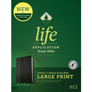 NLT Life Application Study Bible, Third Edition, Large Print (Red Letter, LeatherLike, Black/Onyx, Indexed) - LeatherLike Black/Onyx With thumb index and ribbon marker(s)