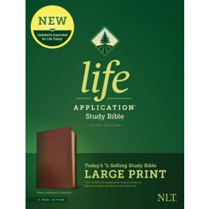 NLT Life Application Study Bible, Third Edition, Large Print (Red Letter, LeatherLike, Brown/Mahogany) - LeatherLike Brown/Mahogany With ribbon marker(s)