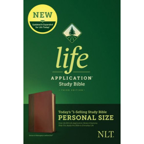 NLT Life Application Study Bible, Third Edition, Personal Size (LeatherLike, Brown/Mahogany) - LeatherLike Brown/Mahogany/Multicolor With ribbon marker(s)