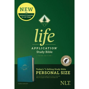 NLT Life Application Study Bible, Third Edition, Personal Size (LeatherLike, Teal Blue, Indexed) - LeatherLike Teal Blue With thumb index and ribbon marker(s)