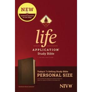 NIV Life Application Study Bible, Third Edition, Personal Size (LeatherLike, Dark Brown/Brown) - LeatherLike Brown/Dark Brown With ribbon marker(s)