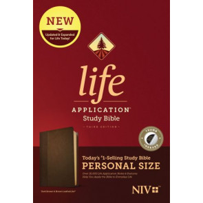 NIV Life Application Study Bible, Third Edition, Personal Size (LeatherLike, Dark Brown/Brown, Indexed) - LeatherLike Brown/Dark Brown With thumb index and ribbon marker(s)