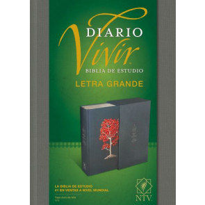 Biblia de estudio del diario vivir NTV, letra grande (Letra Roja, Tapa dura de tela, Gris, Índice) - Hardcover Gray With thumb index and ribbon marker(s)
