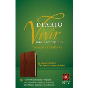 Biblia de estudio del diario vivir NTV, tamaño personal (Letra Roja, SentiPiel, Café claro) - LeatherLike Tan With ribbon marker(s)