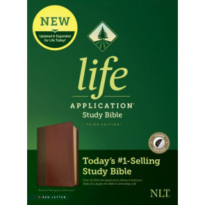 NLT Life Application Study Bible, Third Edition (Red Letter, LeatherLike, Brown/Tan, Indexed) - LeatherLike Brown/Multicolor/Tan With thumb index