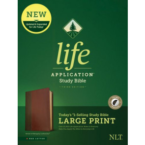 NLT Life Application Study Bible, Third Edition, Large Print (Red Letter, LeatherLike, Brown/Mahogany, Indexed) - LeatherLike Brown/Mahogany/Multicolor With thumb index and ribbon marker(s)
