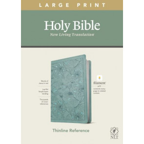 NLT Large Print Thinline Reference Bible, Filament Enabled Edition (Red Letter, LeatherLike, Floral Leaf Teal) - LeatherLike Floral Leaf Teal With ribbon marker(s)