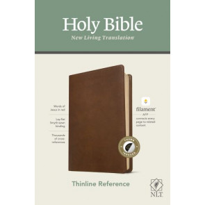 NLT Thinline Reference Bible, Filament Enabled Edition (Red Letter, LeatherLike, Rustic Brown, Indexed) - LeatherLike Rustic Brown With thumb index and ribbon marker(s)