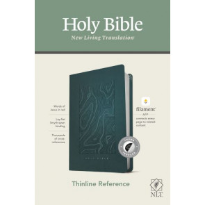 NLT Thinline Reference Bible, Filament Enabled Edition (Red Letter, LeatherLike, Earthen Teal Blue, Indexed) - LeatherLike Earthen Teal Blue With thumb index and ribbon marker(s)