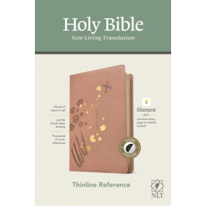NLT Thinline Reference Bible, Filament Enabled Edition (Red Letter, LeatherLike, Brushed Pink, Indexed) - LeatherLike Brushed Pink With thumb index and ribbon marker(s)
