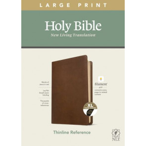 NLT Large Print Thinline Reference Bible, Filament Enabled Edition (Red Letter, LeatherLike, Rustic Brown, Indexed) - LeatherLike Rustic Brown With thumb index and ribbon marker(s)