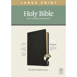 NLT Large Print Thinline Reference Bible, Filament Enabled Edition (Red Letter, Genuine Leather, Black, Indexed) - Genuine Leather Black With thumb index and ribbon marker(s)